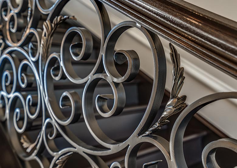 Wrought iron stair rail detail
