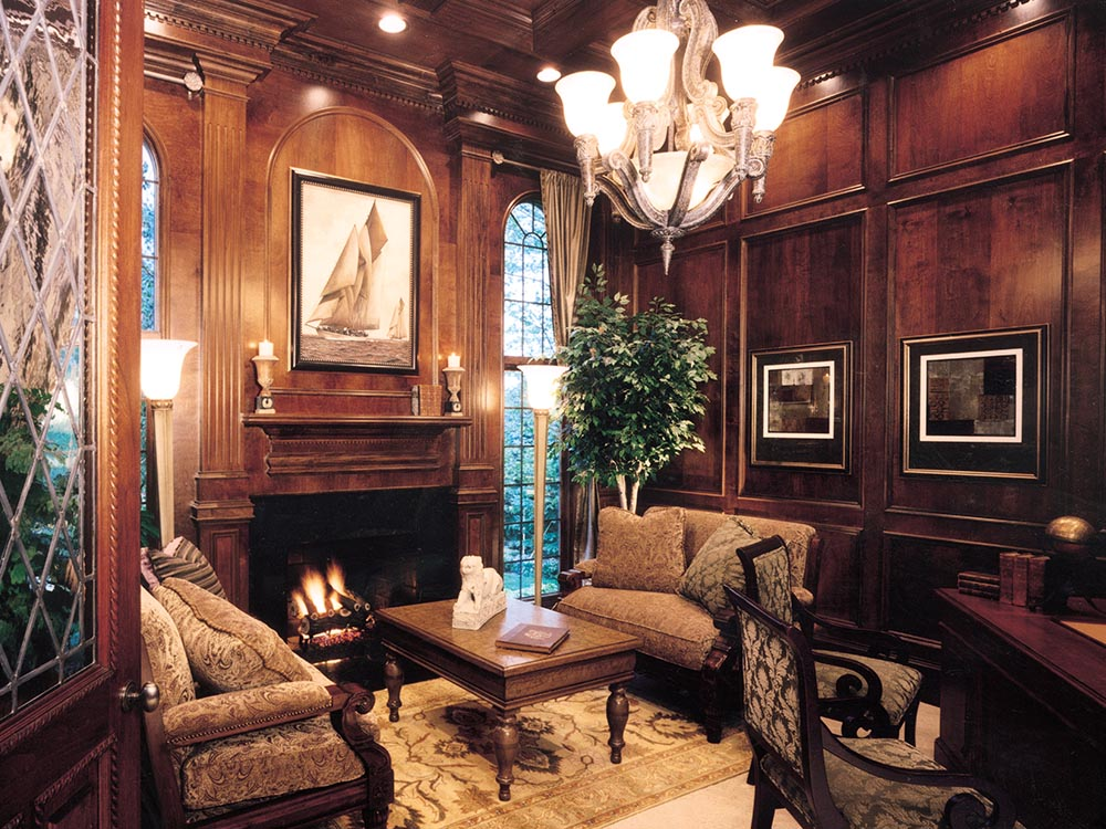 Paneled Home Office with Fireplace
