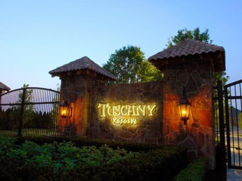 Real Estate Development - Residential development project: Tuscany Reserve Entrance Sign