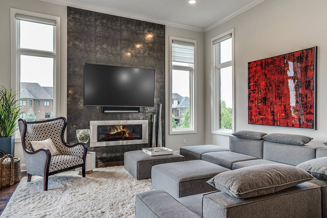 Family room with gray sofa