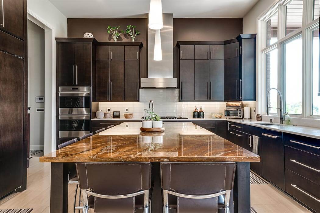 Contemporary Kitchen with dark cabinets